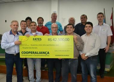 Cooperaliança repassa R$ 42,5 mil ao Hospital São Donato