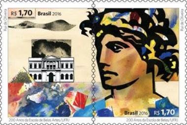 Correios lança selos para comemorar os 200 anos de Escola