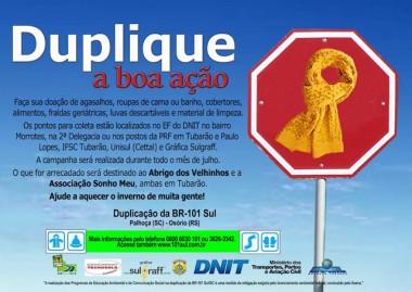 DNIT/SC inicia campanha para coleta de donativos em Tubarão