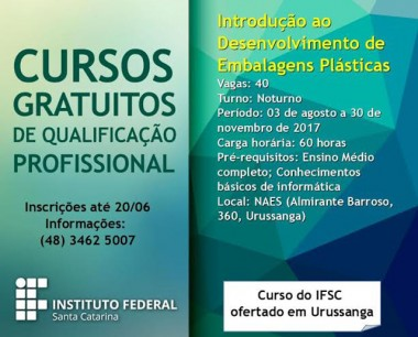Abertas inscrições para curso do IFSC em Urussanga