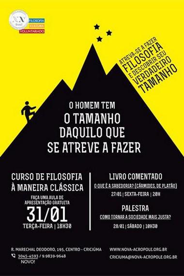 Atividades gratuitas Organização Nova Acrópole de Criciúma