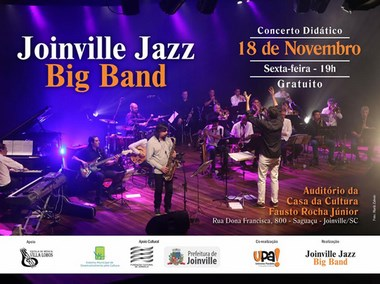 Joinville Jazz Big Band realiza um show gratuito dia 18/11
