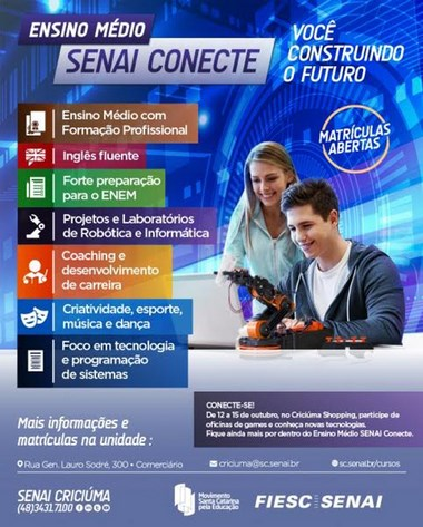Ensino Médio Conecte oferece bolsas integrais de estudos