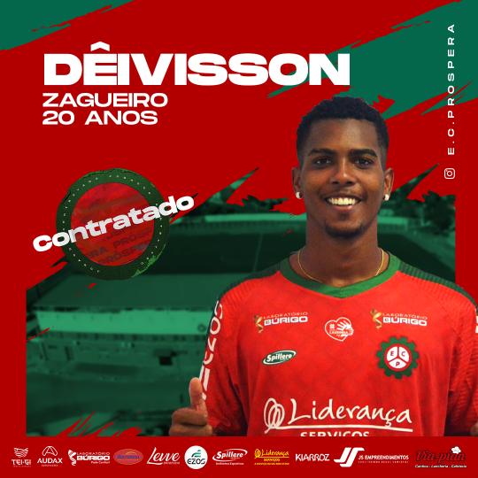 Esporte Clube Próspera contrata zagueiro Dêivisson para a temporada
